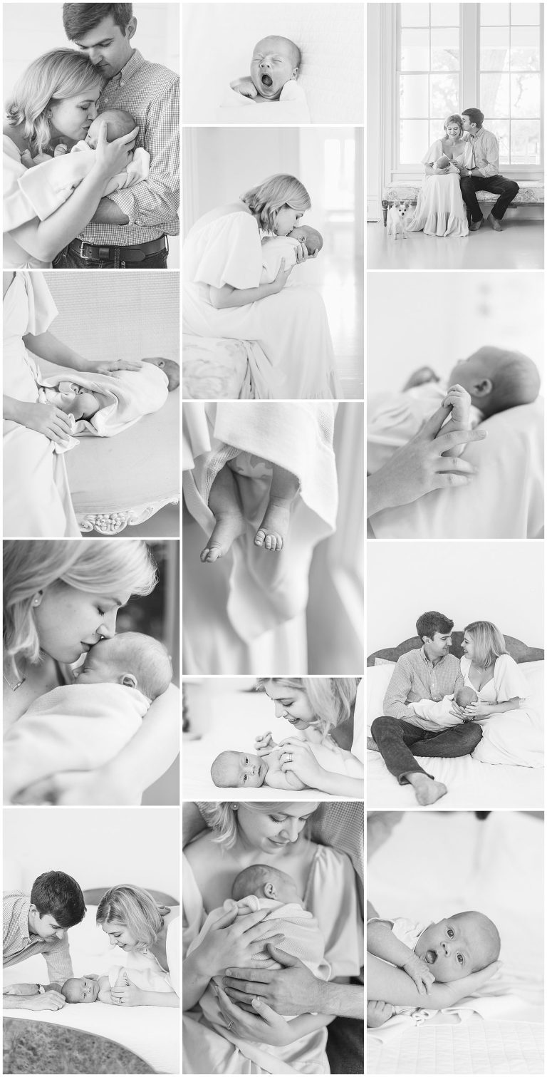 Black and white collage of lifestyle newborn photography, light and airy, soft