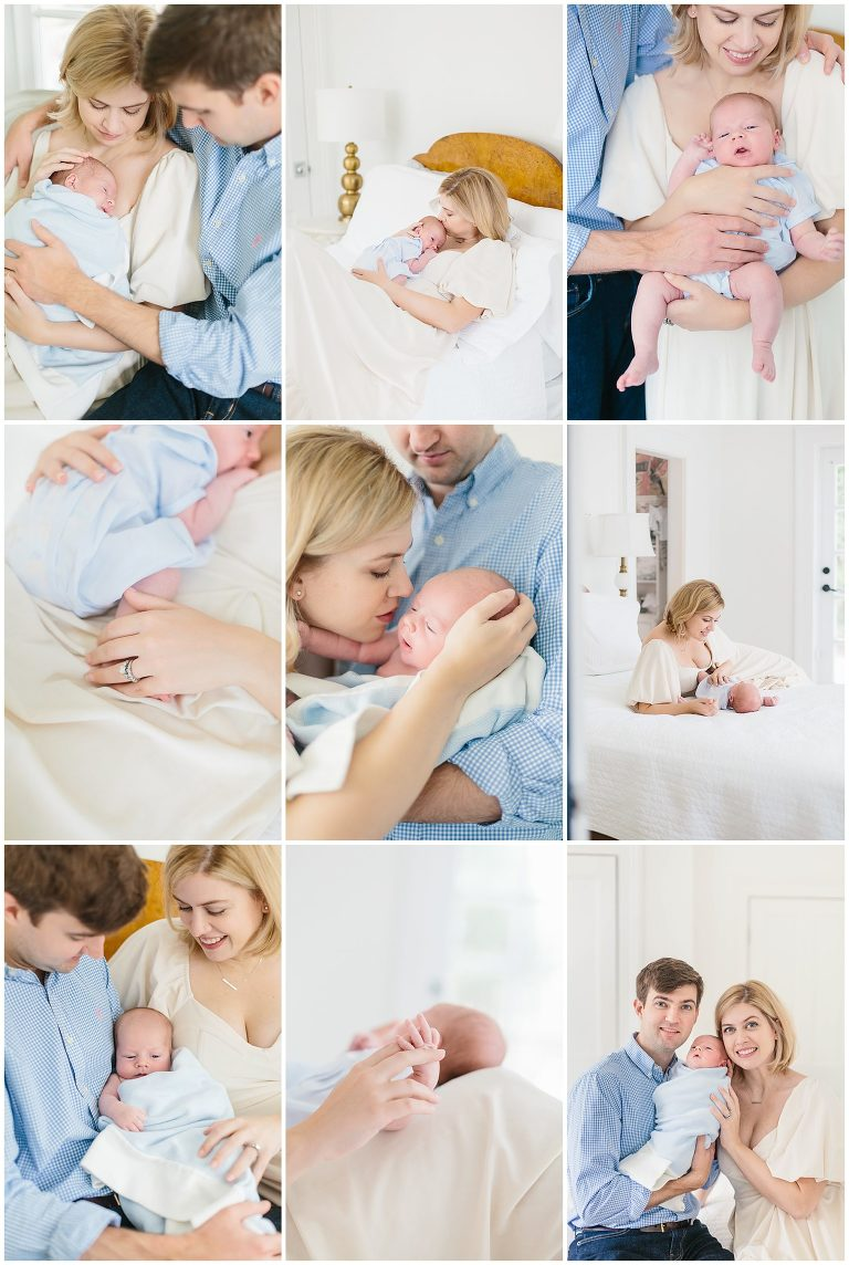 Light and airy, soft collage of lifestyle newborn photography