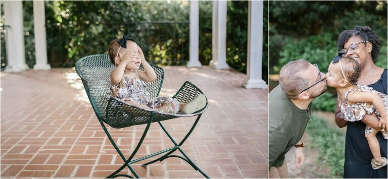 18 months baby plan photos with parents at Maclay Gardens State Park