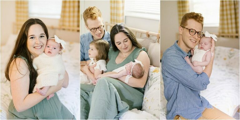 Collage of photos of newborn baby girl at home